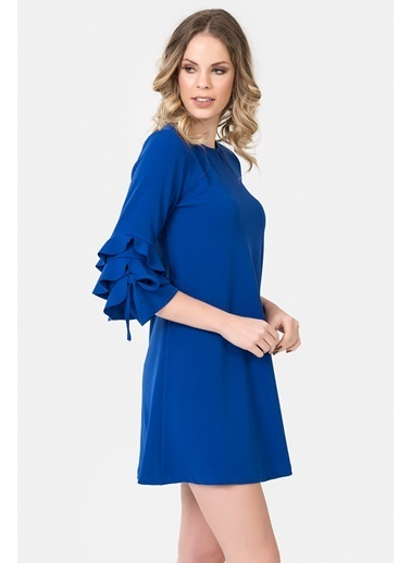İroni Kolları Volanlı Mini Elbise Saks